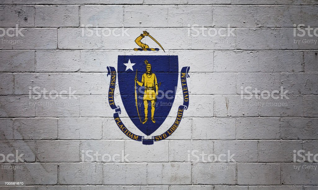Massachusetts state flag painted on a wall stock photo