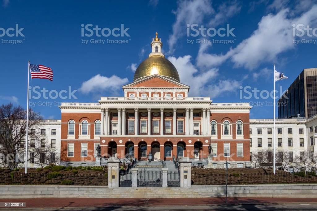 Massachusetts State House - Boston, Massachusetts, USA stock photo