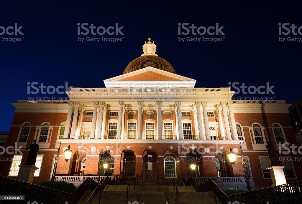 Massachusetts State House in Boston, MA at night stock photo