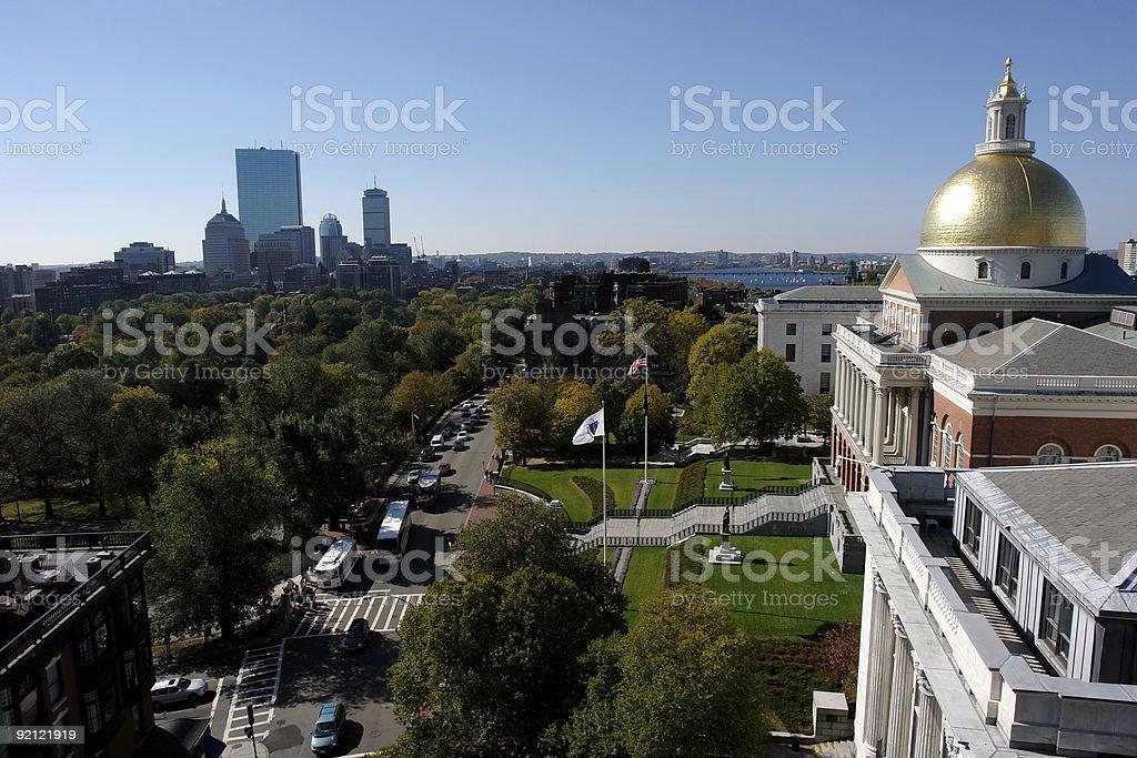 Massachusetts  State House in Boston on Beacon Street stock photo