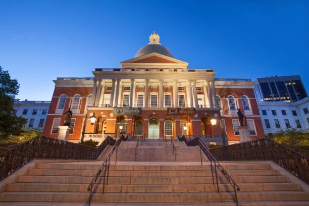 Massachusetts State House in Boston stock photo