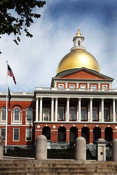 Massachusetts State House in Summer stock photo