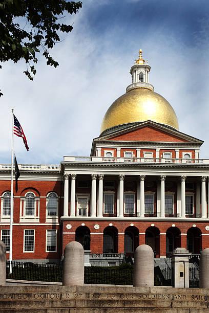Massachusetts State House in Summer stock photo