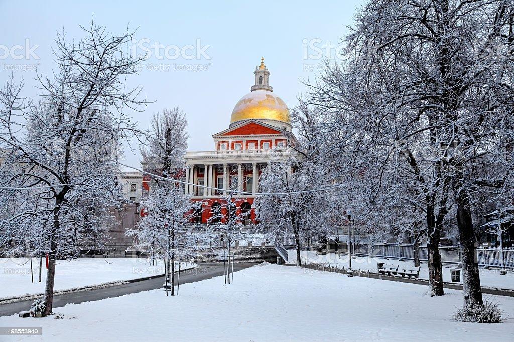 Massachusetts State House in winter stock photo