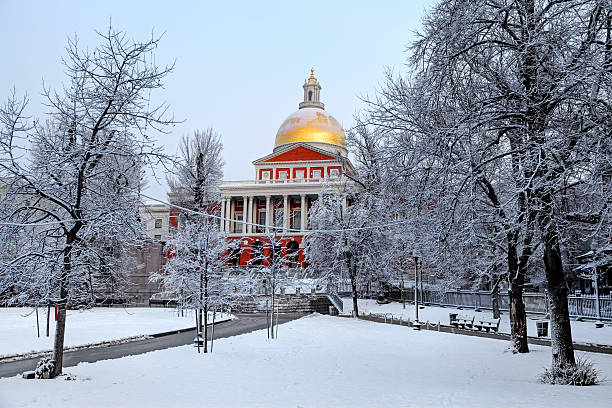 Massachusetts State House in winter stock photo