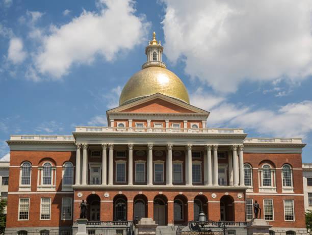 Massachusetts State House on Boston Freedom Trail stock photo