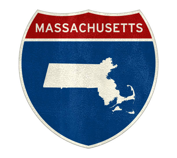 Massachusetts State Interstate road sign stock photo
