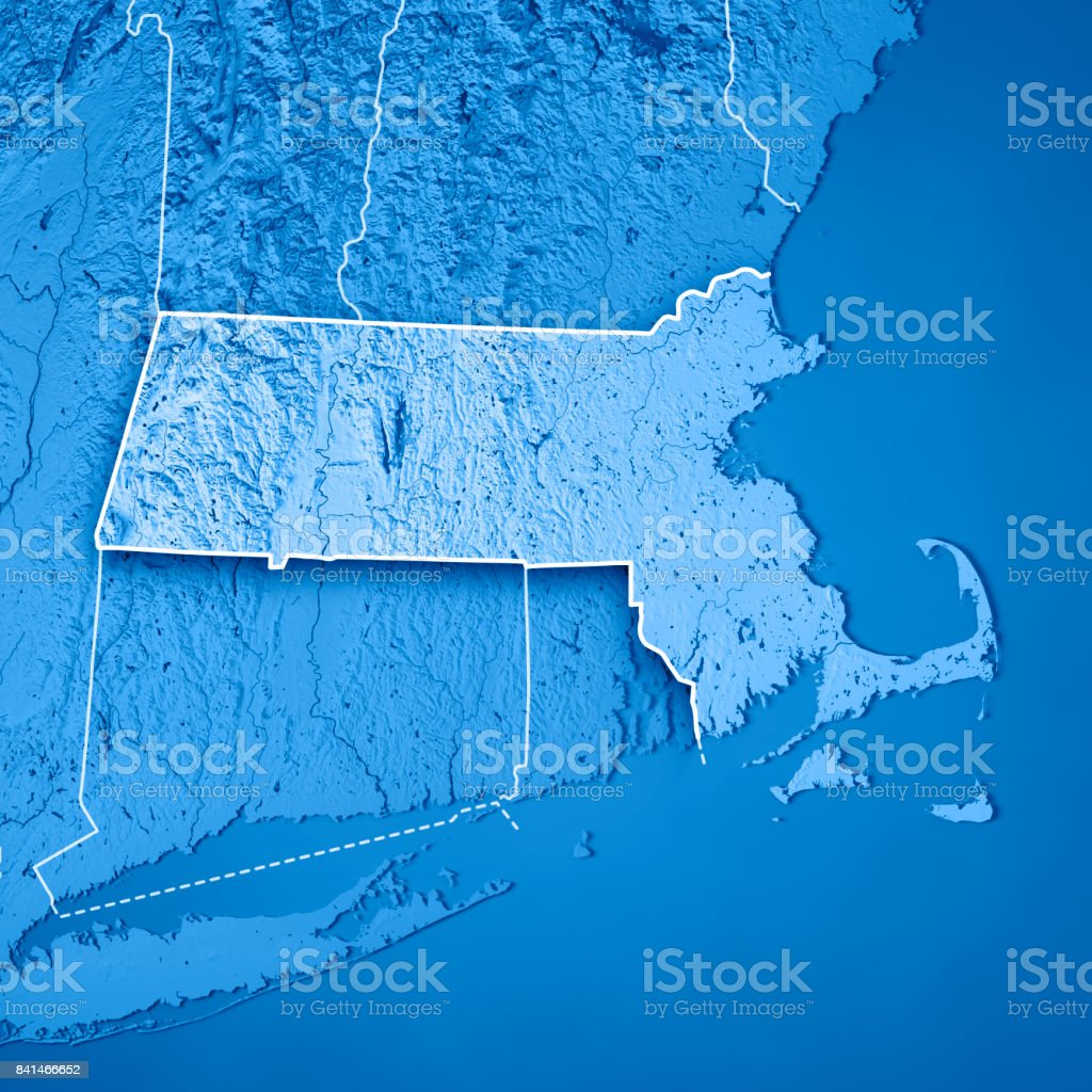 Topographic Map Massachusetts.Massachusetts State Usa 3d Render Topographic Map Blue Border Stock