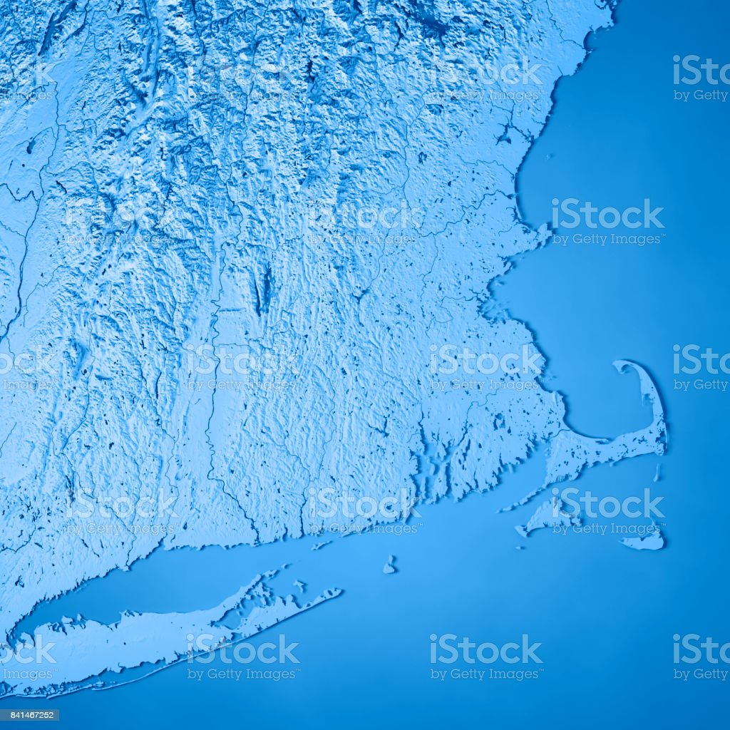 Topographic Map Massachusetts.Massachusetts State Usa 3d Render Topographic Map Blue Stock Photo