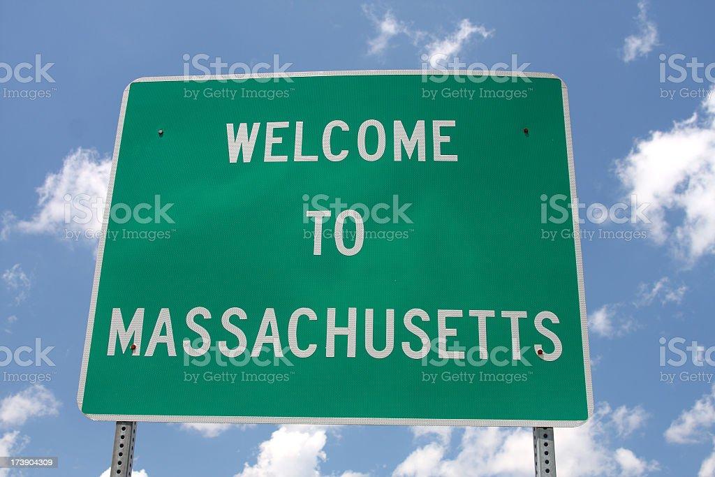 Massachusetts Welcome Sign stock photo
