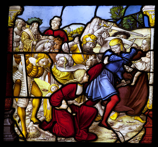 Massacre of the Innocents antique leadlight religous winows england. Made in Lower Rhine 1522-26. mass murder stock pictures, royalty-free photos & images