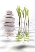 tower of white stones and leaf of lily of the valley are reflected in the water