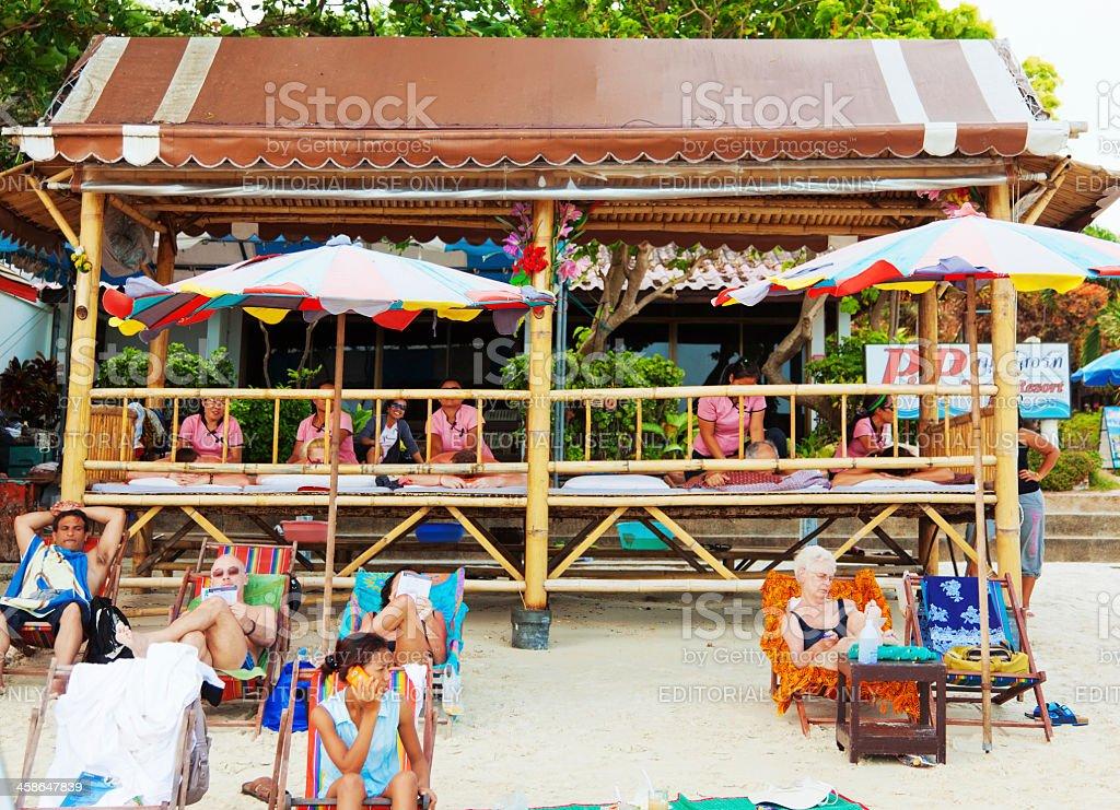 Massage at Chaweng Beach, Thailand stock photo