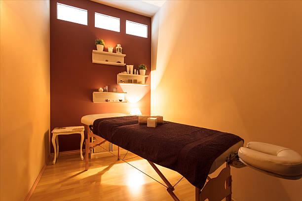 Massage bed at spa centre ストックフォト