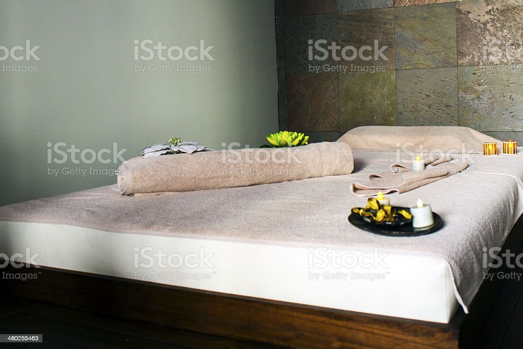 massage bed for thai massage stock photo
