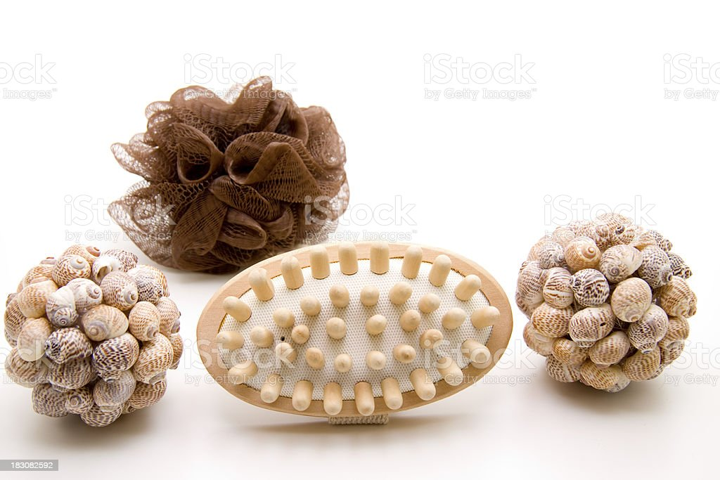 Massage brush and mussel sphere royalty-free stock photo
