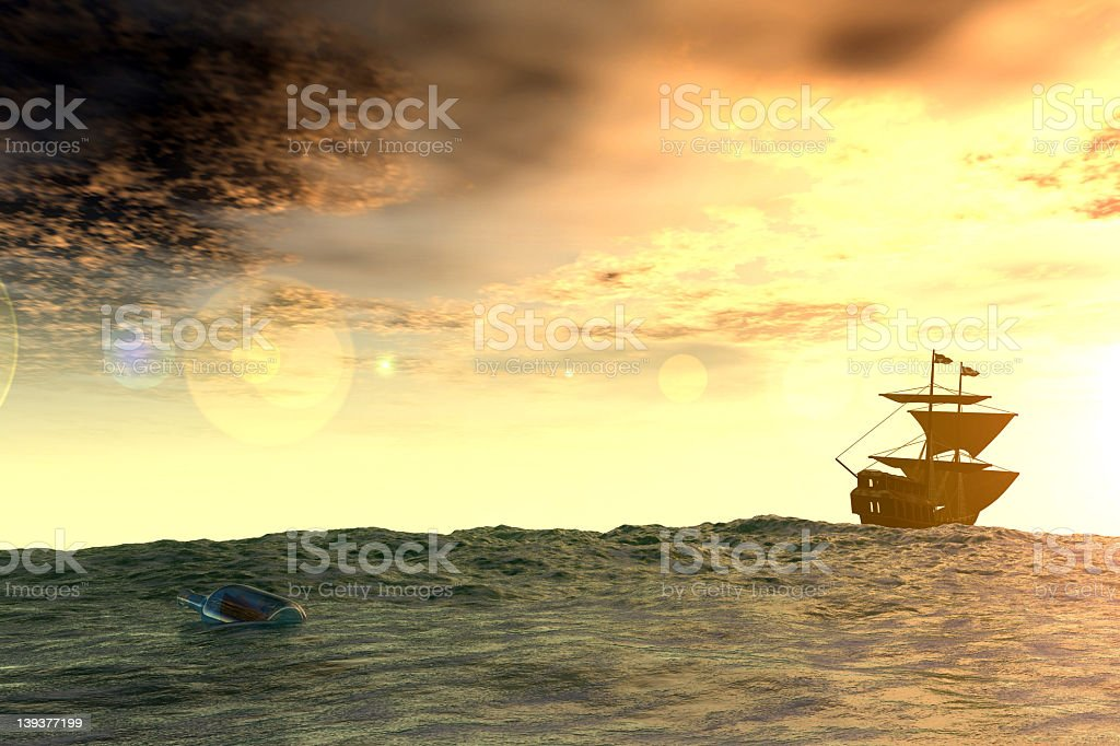 A massage in a bottle floating on the ocean stock photo