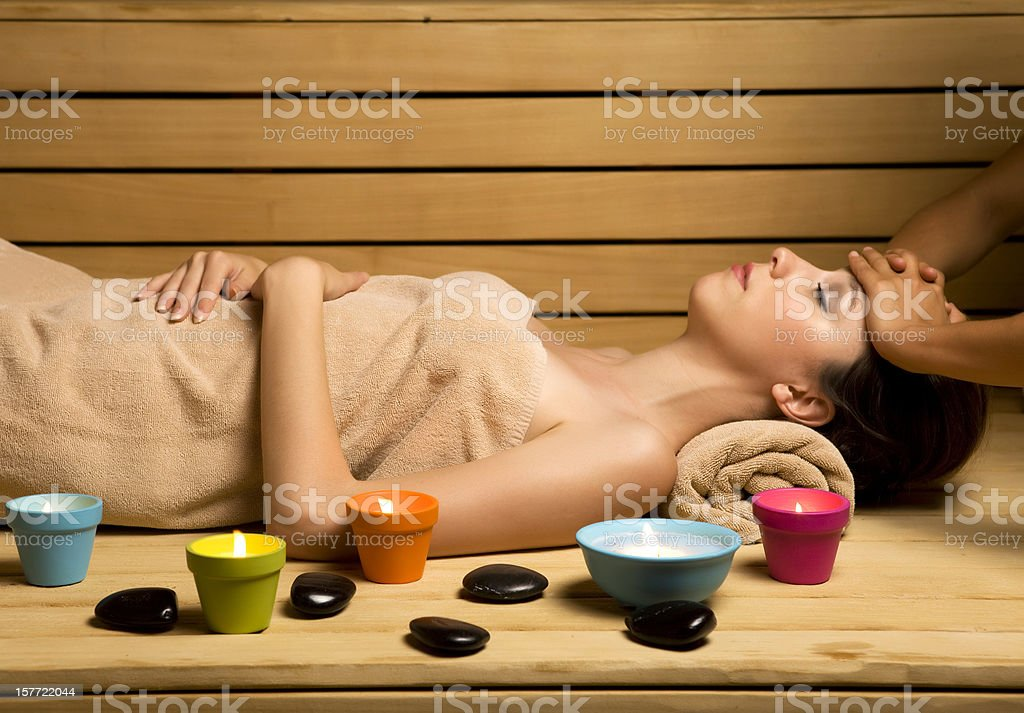 Massage in sauna royalty-free stock photo