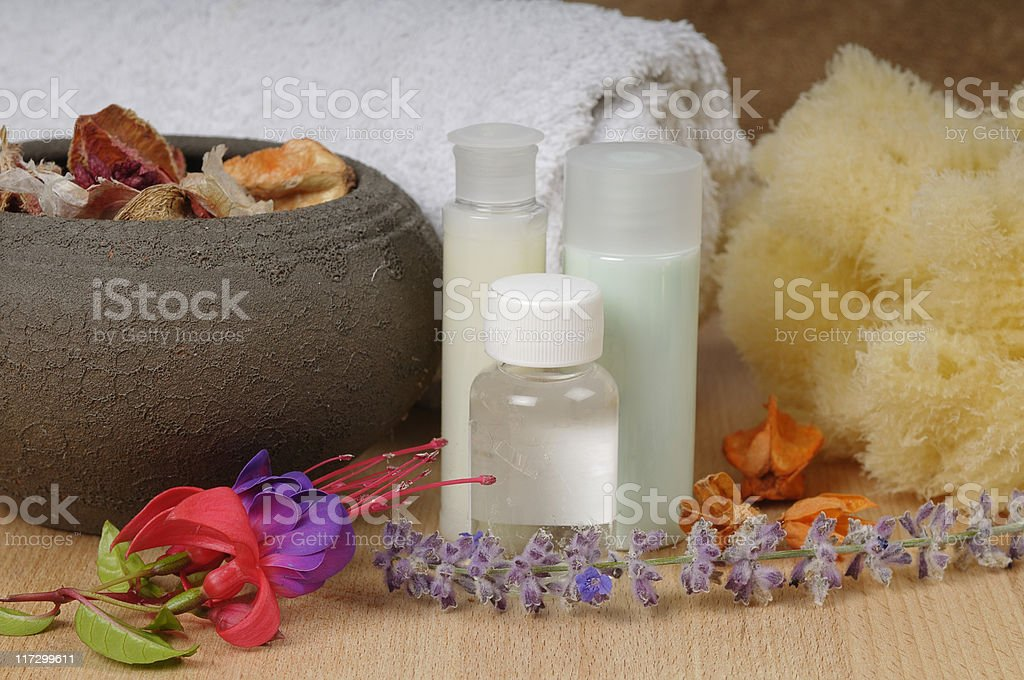 Massage Lotion and Pot Pourri royalty-free stock photo