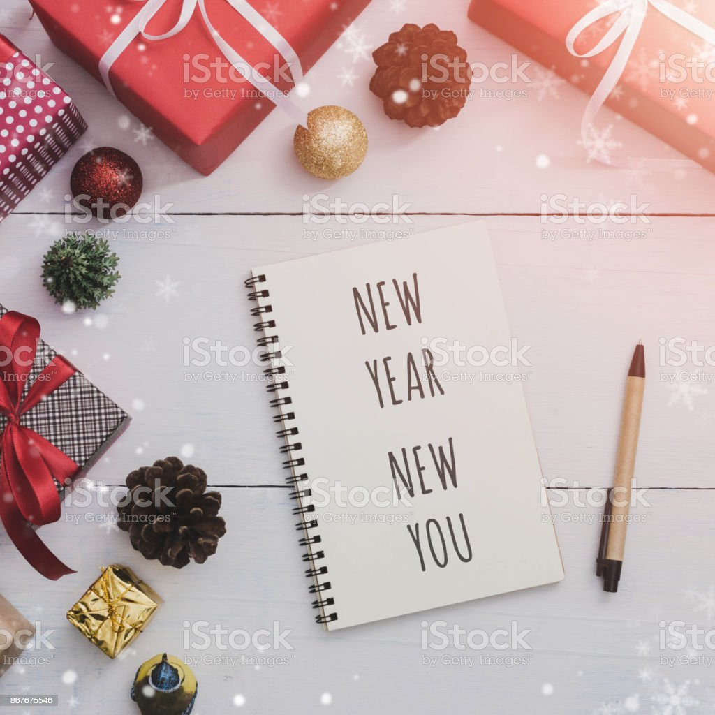 Massage New Year New You On Note Book And Pen With Christmas And New ...