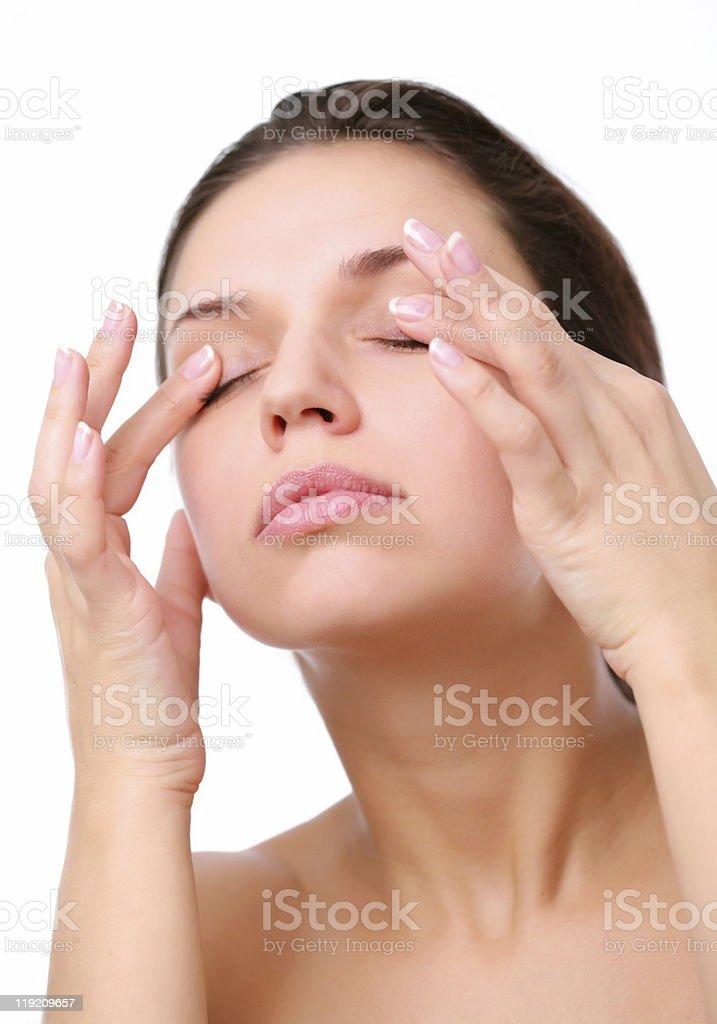 Massage of eyes. stock photo
