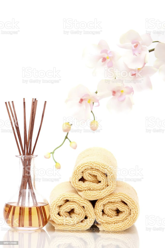 Massage oil and towels royalty-free stock photo