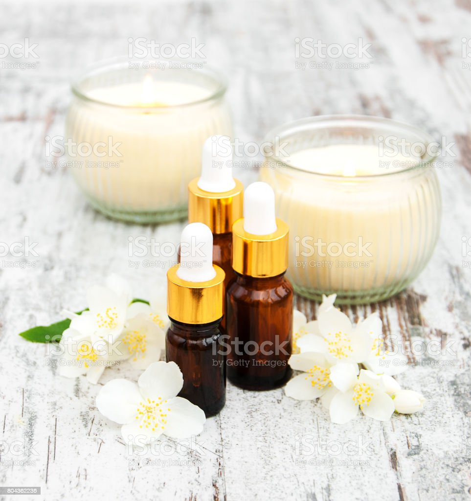 Massage Oils And Jasmine Flowers Stock Photo More Pictures Of