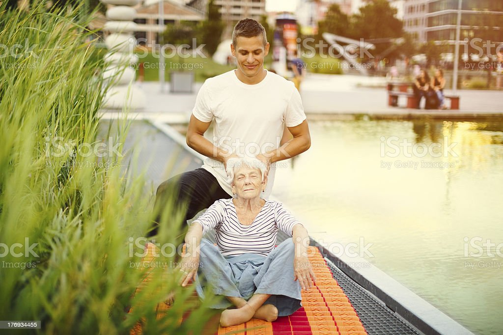 Massage outdoors royalty-free stock photo