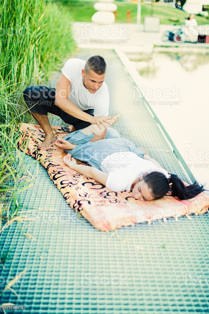 Massage outdoors royalty-free stock photo
