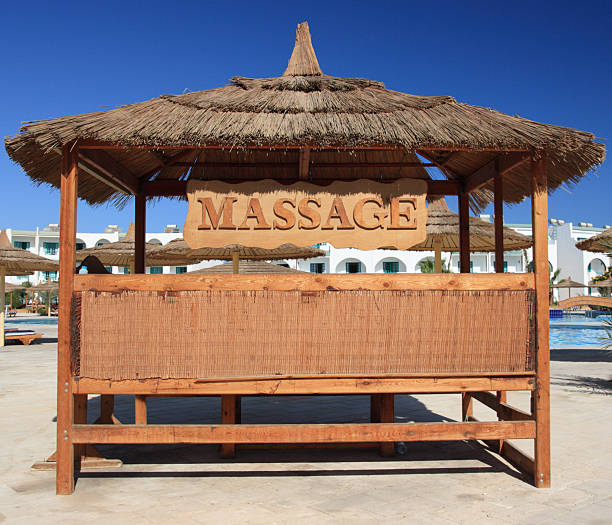 Massage place and blue sky, Egypt. stock photo
