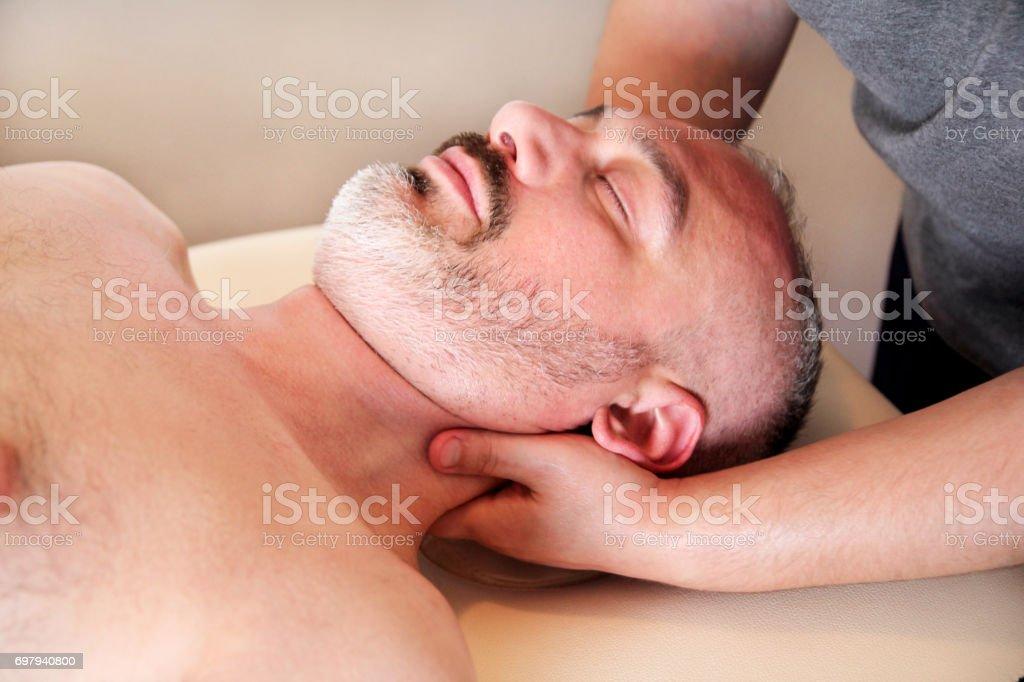 Massage relax professional wellness center. Masseuse human hands...
