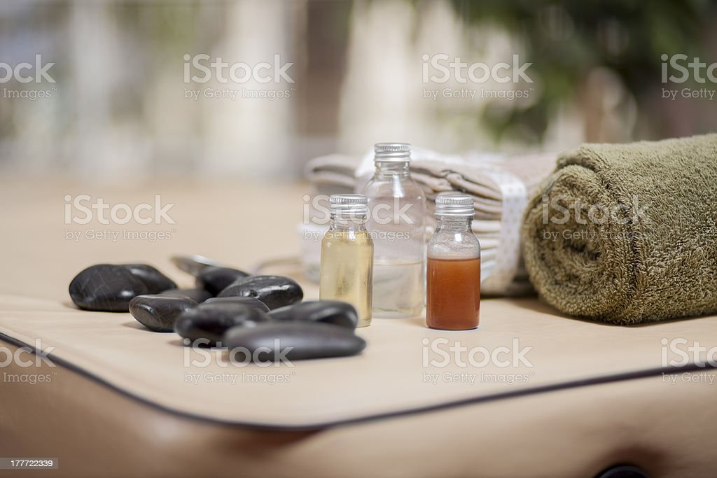 Massage table ready at a health spa stock photo