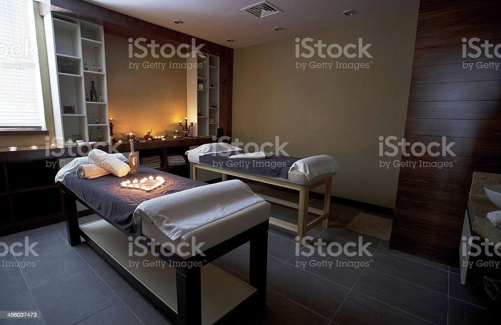 Massage tables stock photo