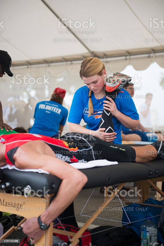 Massage tent after the Los Angeles Marathon stock photo