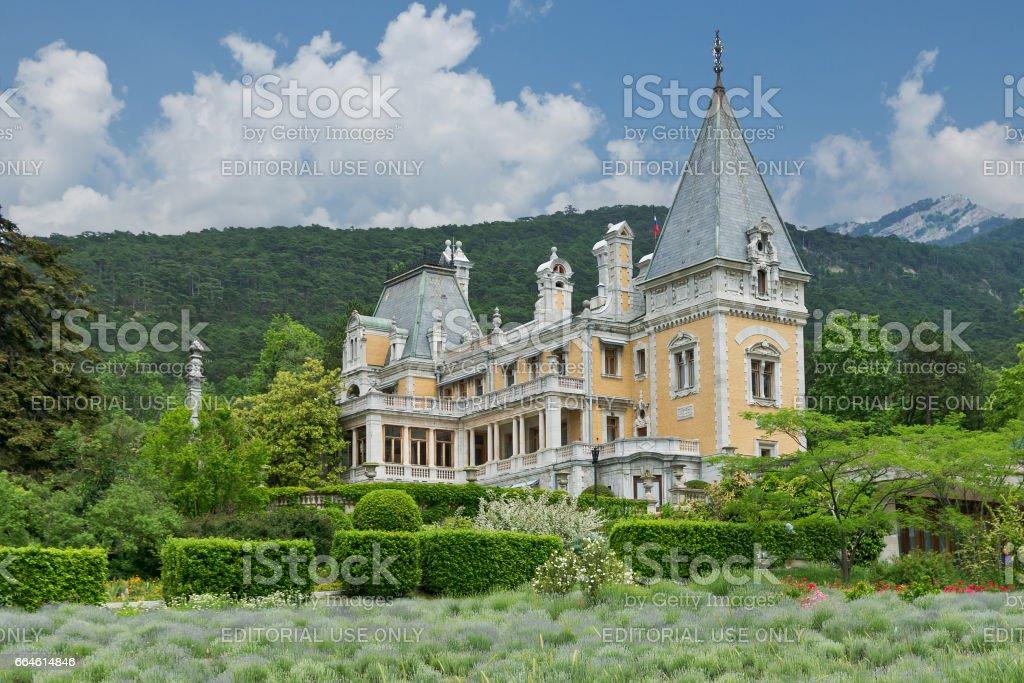 MASSANDRA, CRIMEA, RUSSIA - JUNE 09.2015: Massandra Palace in the background of the Crimean mountains stock photo