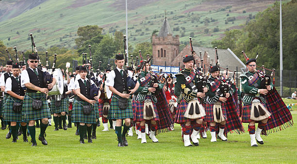 Massed Pipe Bands at Brodick Highland Games, Arran.
