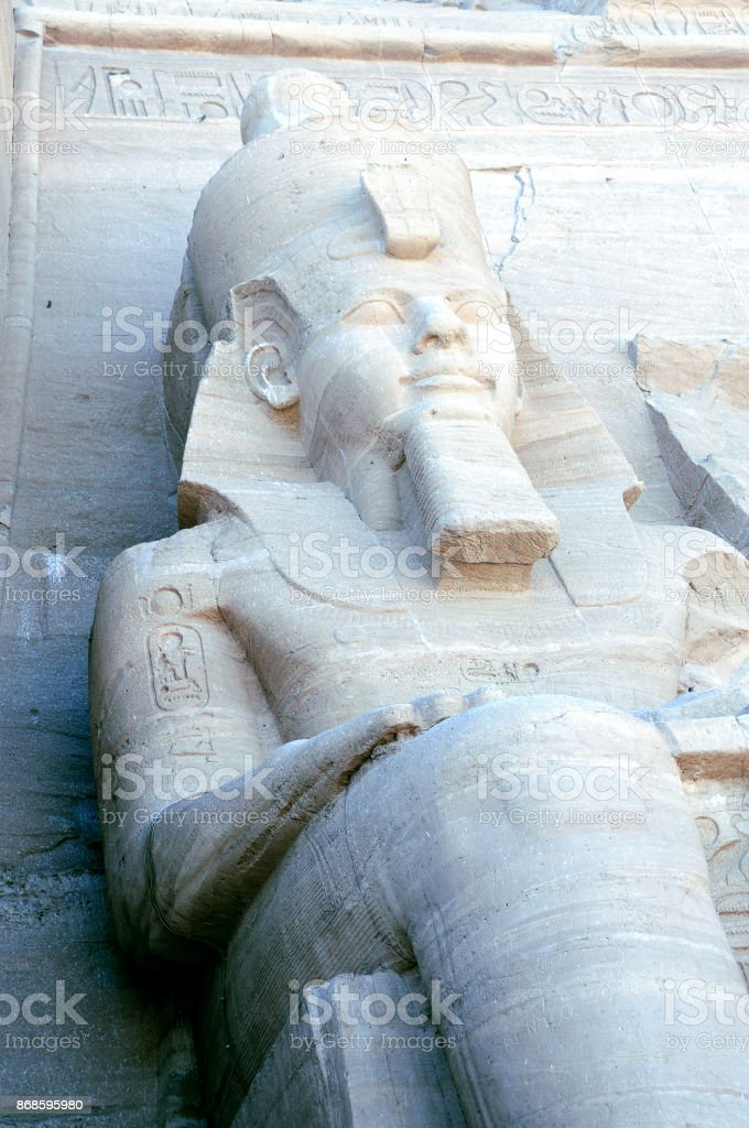 Massive Ancient Sitting Pharoah Statue or Sculpture stock photo