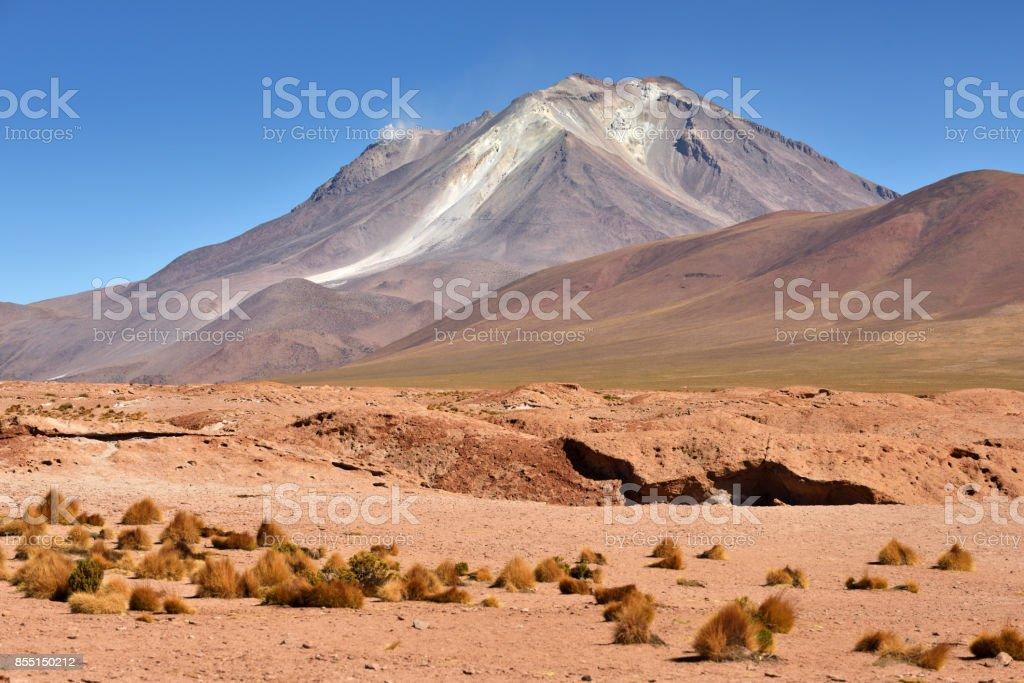 Massive andesite stratovolcano in the Andes stock photo