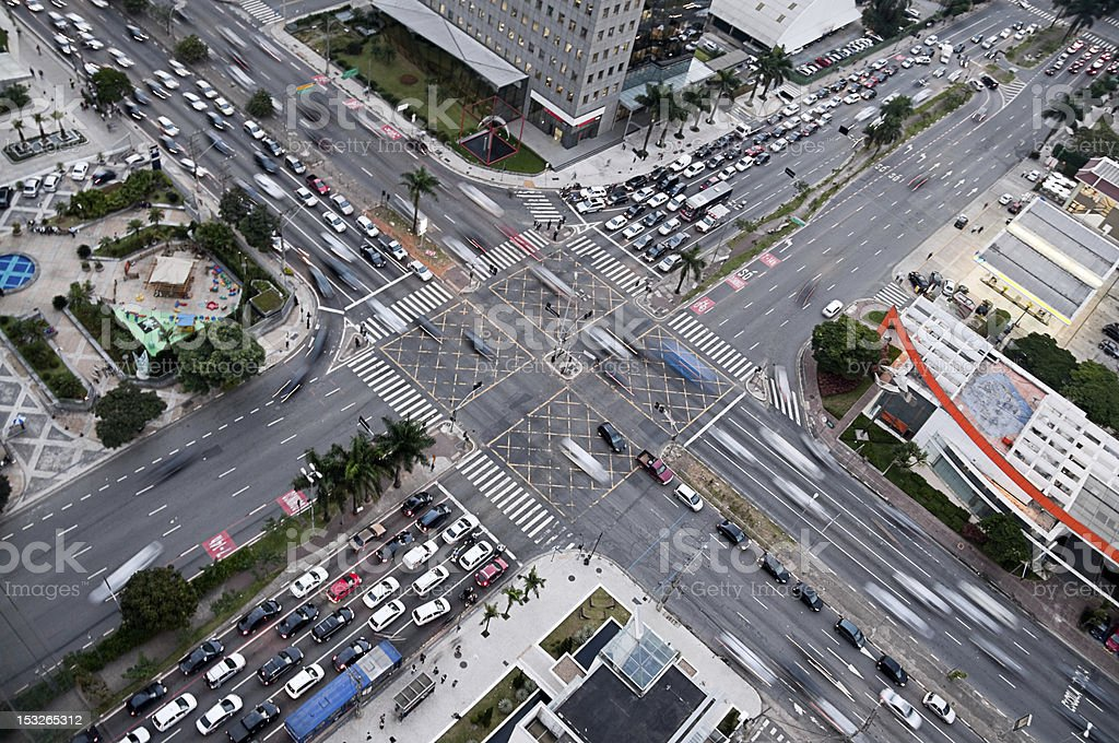 Massive busy cross roads traffic of Faria Lima, Sao Paolo royalty-free stock photo