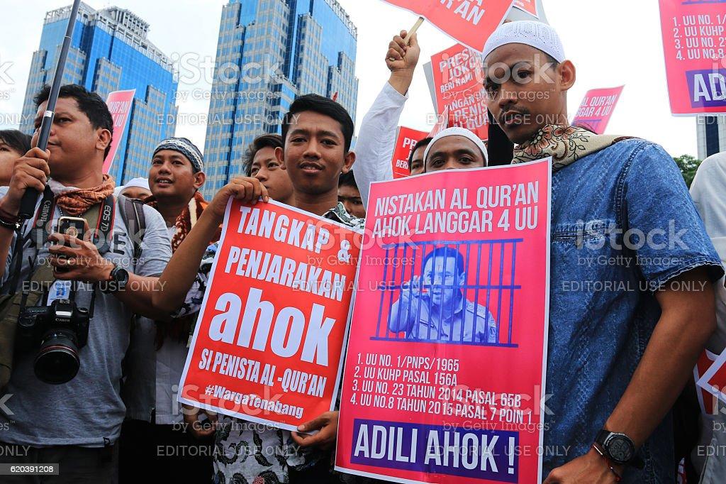massive demonstration demanded Ahok examined. stock photo