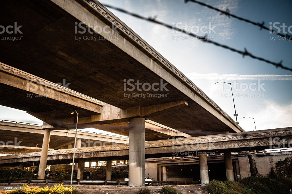 Massive I-10 & 110 L.A. Freeway Interchange stock photo