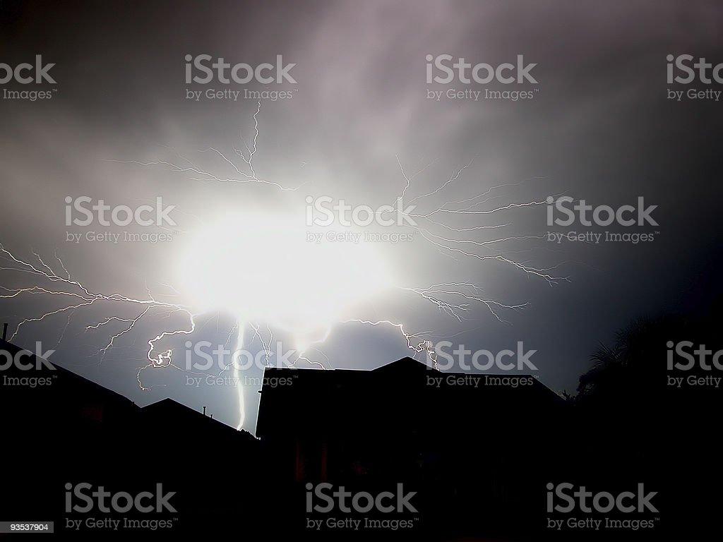 Massive Lightning Strike stock photo