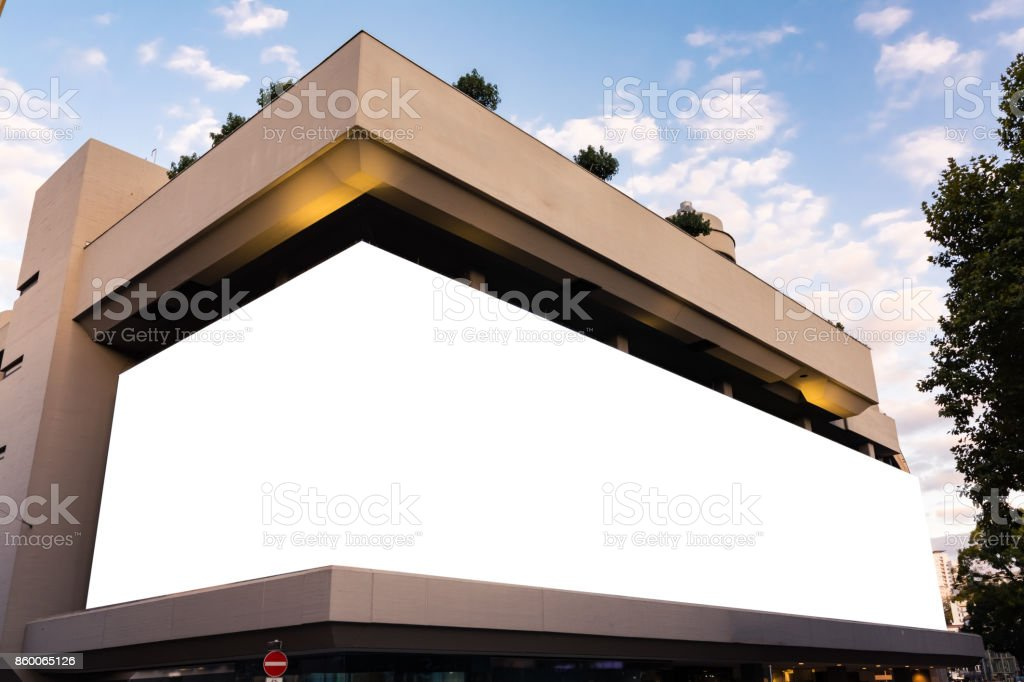Massive Mall Billboard Large Format Building Blank White Space Isolated stock photo