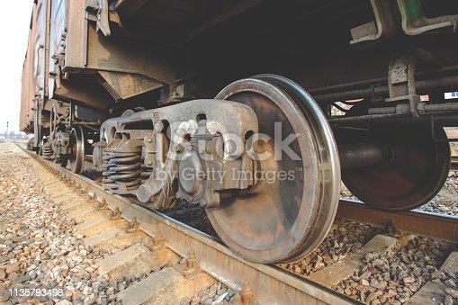 massive metal wheels of a railroad car, retro toned