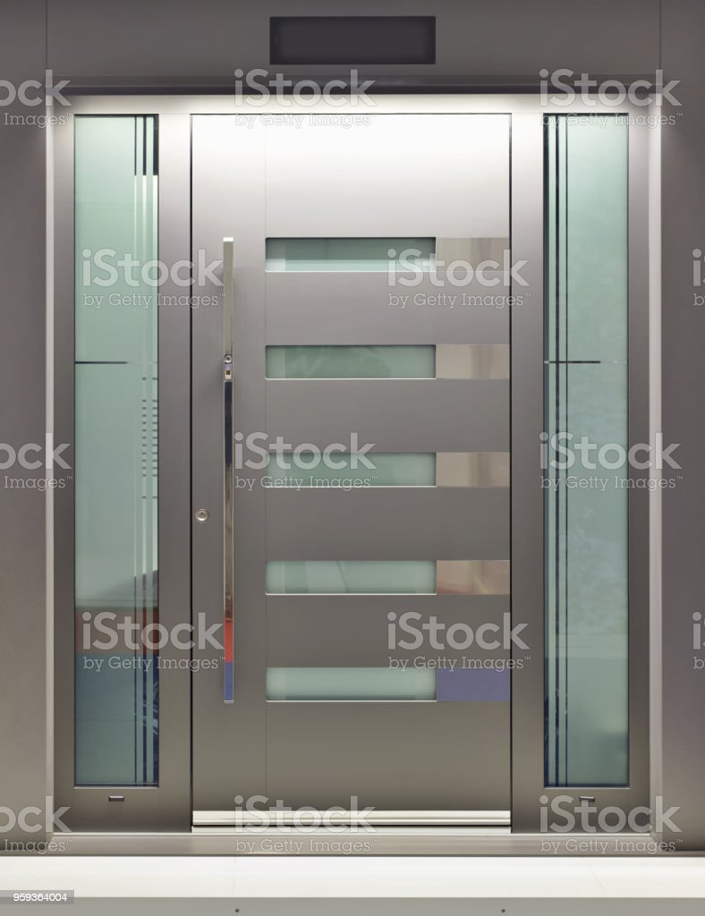 Massive Metallic Fireproof Front Door stock photo