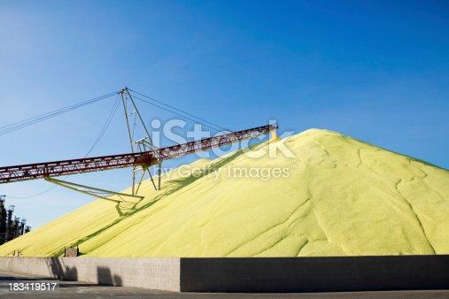 Sulphur refinery stockpile.