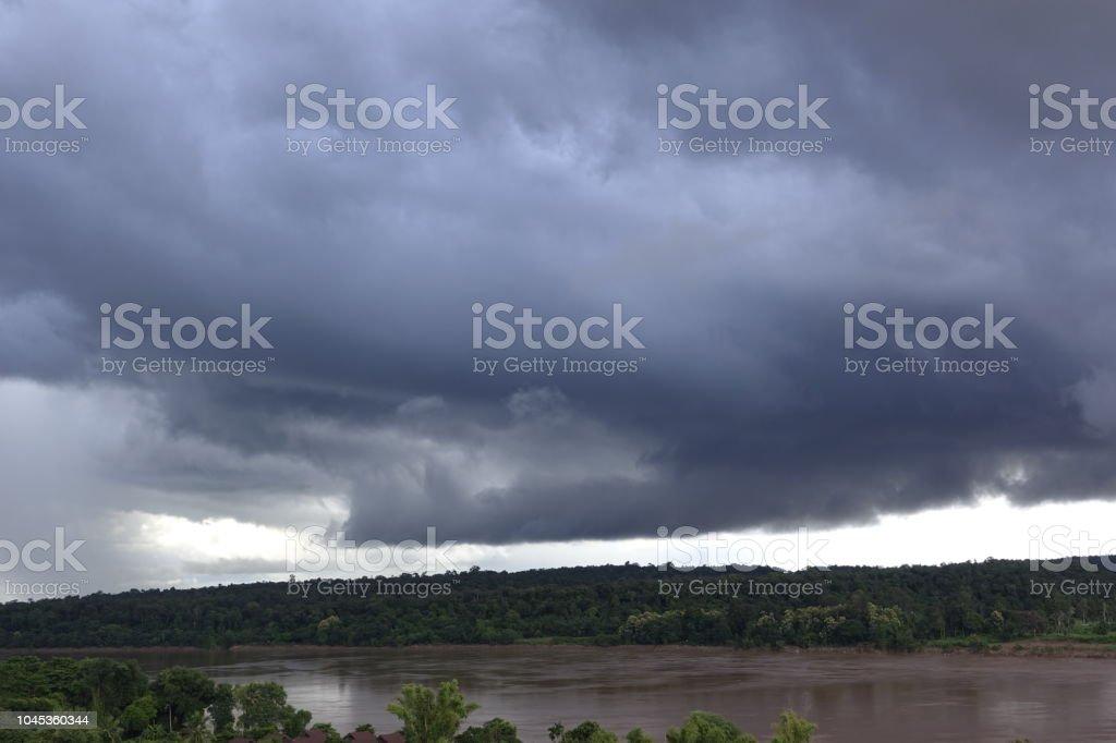 Massive rain storm clod over Maekong river at Ubon-Rachatani province...