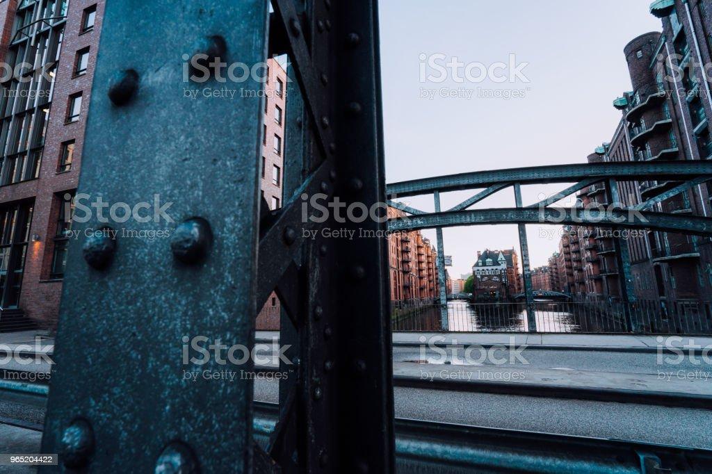 Massive steel construction of Poggenmoehlenbruecke bridge near the Wasserschloss Hamburg Hafencity royalty-free stock photo