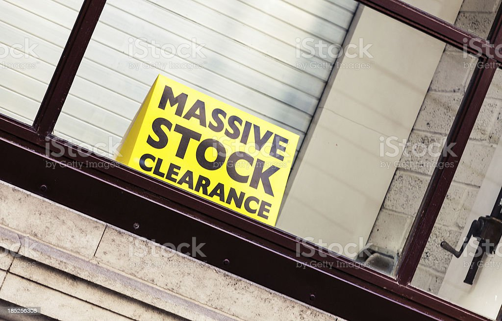Massive stock clearance stock photo