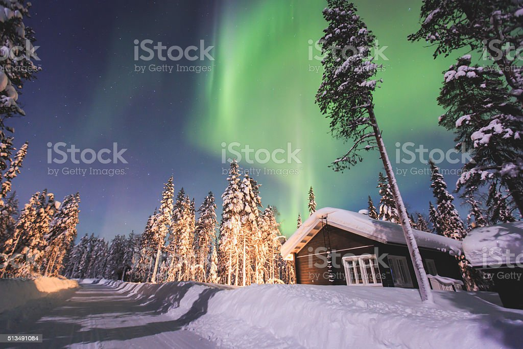 Massive vibrant Aurora Borealis Northern Lights in Lapland, Norway stock photo